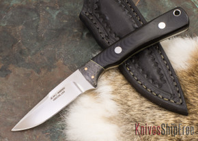 Alan Warren Knives: Custom Neck Knife #1858 - Black G-10 - Antique Micarta Liners - Carbon Fiber Bolster