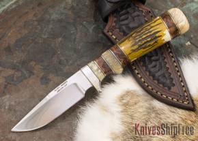 Alan Warren Knives: Custom Subhilt Hunter #2157 - Stag - Ironwood & Musk Ox Spacers