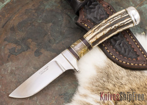 Alan Warren Knives: Custom Hunter #2155 - Stag - Ironwood & Musk Ox Spacers