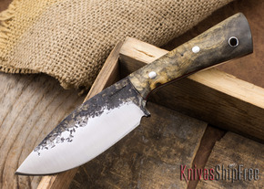 Lon Humphrey Knives: Custom Brute - Buckeye Burl - Red Liners - Spearpoint - 01