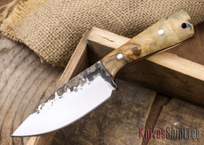Lon Humphrey Knives: Custom Brute - Buckeye Burl - Red Liners - Spearpoint - 02