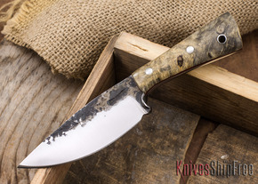 Lon Humphrey Knives: Custom Brute - Buckeye Burl - Red Liners - Drop Point - 05