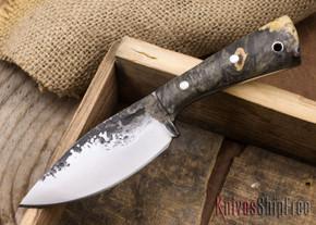 Lon Humphrey Knives: Custom Brute - Buckeye Burl - Dark Grey Liners - Spear Point - 09