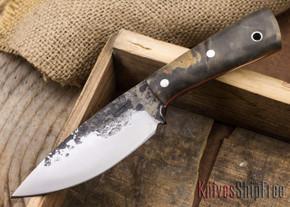 Lon Humphrey Knives: Custom Brute - Buckeye Burl - Orange Liners - Drop Point - 11