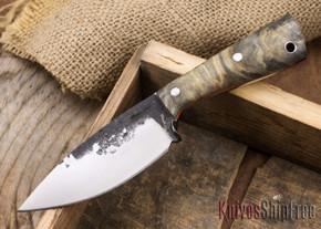 Lon Humphrey Knives: Custom Brute - Buckeye Burl - Orange Liners - Drop Point - 13