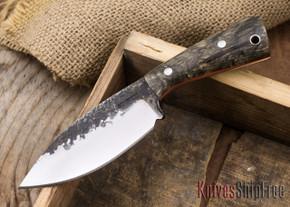 Lon Humphrey Knives: Custom Brute - Buckeye Burl - Orange Liners - Spear Point - 15