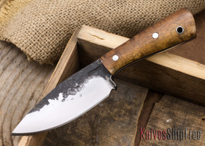 Lon Humphrey Knives: Custom Brute - Curly Koa - Dark Grey Liners - Spear Point - 17