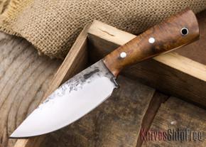 Lon Humphrey Knives: Custom Brute - Curly Koa - Orange Liners - Drop Point - 18