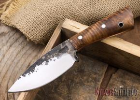 Lon Humphrey Knives: Custom Brute - Curly Koa - Orange Liners - Spear Point - 19
