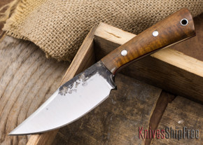 Lon Humphrey Knives: Custom Brute - Curly Koa - Red Liners - Clip Point - 20