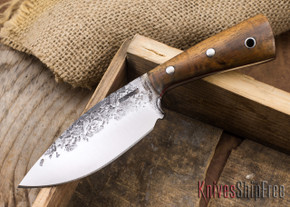 Lon Humphrey Knives: Custom Brute - Curly Koa - Red Liners - Drop Point - 21