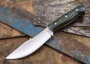 Cross Knives: U.P. Skinner - Green Burlap Micarta - Yellow Liners - 009
