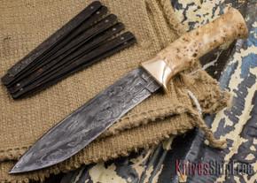 Jesse Hemphill Knives: Custom Damascus Bowie - Mapa Burl