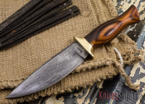 Jesse Hemphill Knives: Custom Damascus Belt Knives - Desert Ironwood