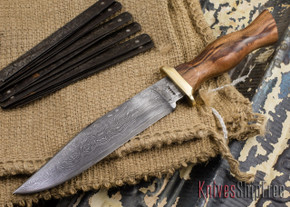 Jesse Hemphill Knives: Custom Damascus Bowie - Goncolo Wood