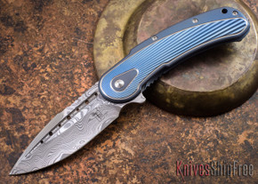 Todd Begg Knives: Steelcraft Series - Bodega - Blue Frame - Blue Fan Pattern - Damasteel - 001