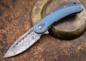 Todd Begg Knives: Steelcraft Series - Bodega - Blue Frame - Blue Fan Pattern - Damasteel - 005