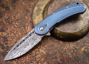 Todd Begg Knives: Steelcraft Series - Bodega - Blue Frame - Blue Fan Pattern - Damasteel - 006