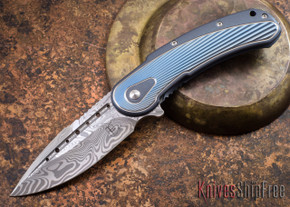 Todd Begg Knives: Steelcraft Series - Bodega - Blue Frame - Blue Fan Pattern - Damasteel - 010