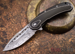 Todd Begg Knives: Steelcraft Series - Bodega - Black Frame - Black Fan Pattern - Damasteel - 014