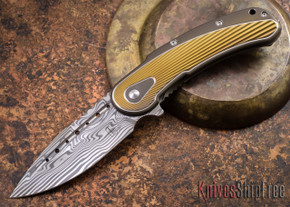 Todd Begg Knives: Steelcraft Series - Bodega - Bronze Frame - Gold Fan Pattern - Damasteel - 017