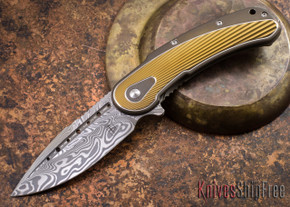 Todd Begg Knives: Steelcraft Series - Bodega - Bronze Frame - Gold Fan Pattern - Damasteel - 018