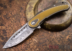 Todd Begg Knives: Steelcraft Series - Bodega - Bronze Frame - Gold Fan Pattern - Damasteel - 019