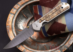 Chris Reeve Knives: Large Sebenza 21 - Spalted Beech - Ladder Damascus - 081810