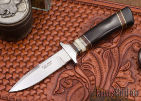 Alan Warren Knives: Boot Knife - Blackwood - Ironwood & Fossil Walrus Tusk Spacers - G-10 Pommel