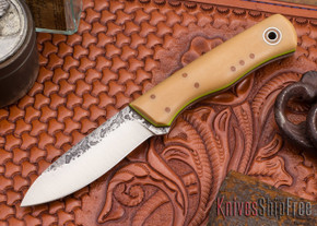 Fiddleback Forge: Pack Rat - Bone Linen Micarta - Natural & Lime Liners - A2 Steel