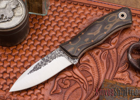 Fiddleback Forge: Sneaky Pete - Python Micarta - Natural & White Liners - A2 Steel