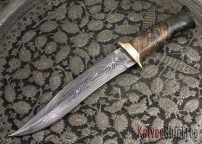 Jesse Hemphill Knives: Custom Damascus Serpentine Fighter - Dyed Burl
