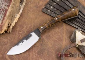 Lon Humphrey Knives: Custom Muley - Forged 52100 - Dark Curly Maple #201