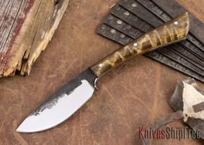 Lon Humphrey Knives: Custom Muley - Forged 52100 - Dark Curly Maple #203