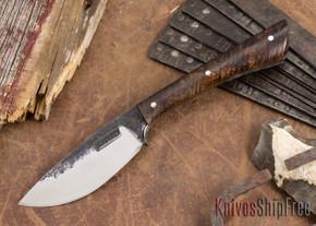 Lon Humphrey Knives: Custom Muley - Forged 52100 - Curly Koa #221