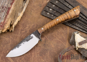 Lon Humphrey Knives: Custom Muley - Forged 52100 - Curly Koa #222
