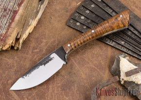 Lon Humphrey Knives: Custom Muley - Forged 52100 - Curly Koa #223
