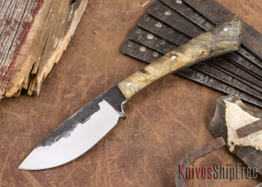Lon Humphrey Knives: Custom Muley - Forged 52100 - Buckeye Burl #230