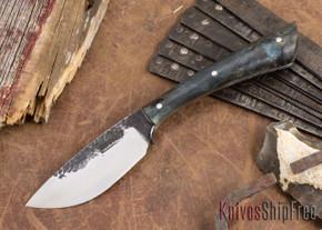 Lon Humphrey Knives: Custom Muley - Forged 52100 - Blue Burl #232