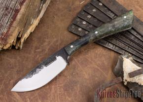 Lon Humphrey Knives: Custom Muley - Forged 52100 - Blue Burl #235