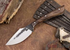 Lon Humphrey Knives: Custom Muley - Forged 52100 - Claro Walnut Burl #257
