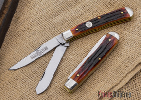 Queen Cutlery: #19 - Premium Trapper - Amber Carved Stag Bone - 19ACSB