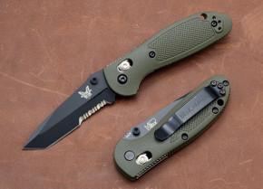Benchmade Knives: 557SBKOD Mini-Griptilian - Tanto - Serrated Black Blade - Olive Drab