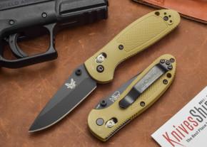 Benchmade Knives: 556BKSN Mini-Griptilian - Sand Handle - Black Blade