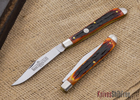 Queen Cutlery: #11 - Utility Knife - Amber Carved Stag Bone - D2 Steel - 11ACSB