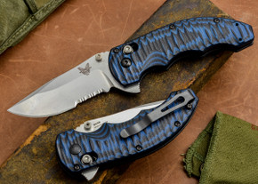 Benchmade Knives: 300S-1 - Axis Flipper - Blue & Black G-10 - Serrated