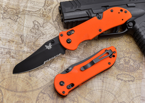 Benchmade Knives: 915SBK-ORG Triage - Serrated - Orange Scales