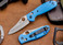 Benchmade Knives: 555HG-BLU Mini Griptilian - Blue Scales - Sheepsfoot Blade