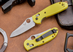 Benchmade Knives: 555HG-YEL Mini Griptilian - Yellow Scales - Sheepsfoot Blade