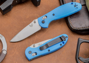 Benchmade Knives: 556-BLU Mini Griptilian - Blue Scales